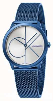 Calvin Klein 最小限ブルーメッシュブレスレット|ベクターイラスト| CLIPARTOシルバーダイヤル| K3M52T56