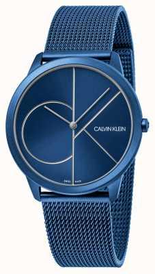Calvin Klein 最小限ブルーメッシュブレスレット|ベクターイラスト| CLIPARTOブルーダイヤル| K3M51T5N