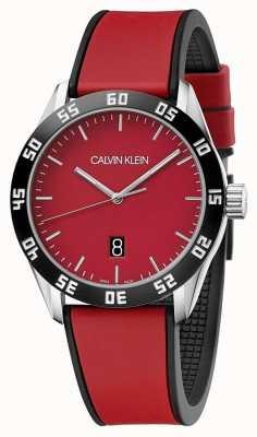 Calvin Klein |メンズコンプリートレッドラバーストラップ|赤いダイヤル| K9R31CUP