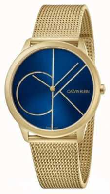 Calvin Klein 最小限ゴールドメッシュブレスレット|ベクターイラスト| CLIPARTOブルーダイヤル| K3M5155N