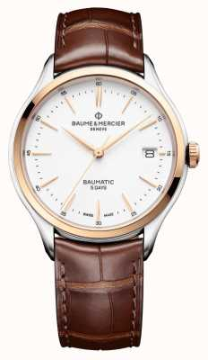 Baume & Mercier | clifton baumatic |茶色の革|ホワイトダイヤル| M0A10401