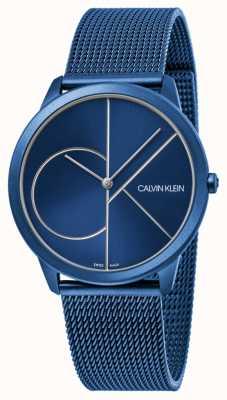 Calvin Klein |レディースミニマルブルーメッシュストラップ|ベクターイラスト| CLIPARTOブルーダイヤル| K3M52T5N