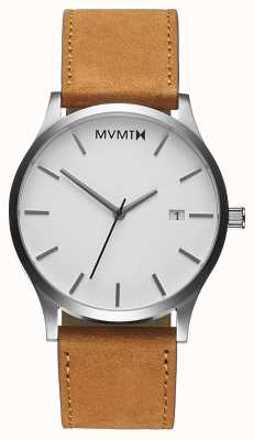 MVMT クラシックホワイトタン|茶色の革ストラップ|白い文字盤 D-L213.1L.331