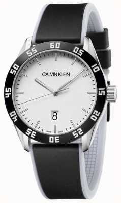 Calvin Klein |メンズ|競争する|ブラックラバーストラップ|シルバーダイヤル| K9R31CD6