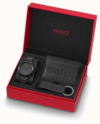 HUGO #rase |ギフトセット|キーリング|カードホルダー|ブラックIPブレスレット 1570096