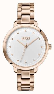 HUGO #達成する|ローズゴールドipブレスレット|ホワイトダイヤル 1540037