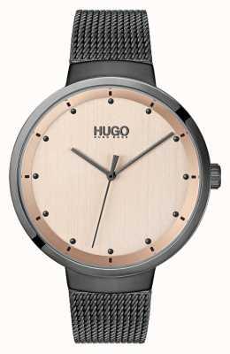 HUGO #go |グレーIPメッシュ|ベクターイラスト| CLIPARTOローズゴールドダイヤル 1540003