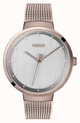 HUGO #go |ローズゴールドIPメッシュ|ベクターイラスト| CLIPARTOグレーダイヤル 1540004