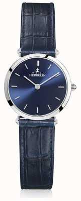 Michel Herbelin |レディースイプシロン|ベクターイラスト| CLIPARTOブルーレザーストラップ|ブルーダイヤル| 17106/15BL
