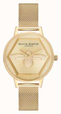Olivia Burton   3Dミツバチチャリティウォッチ イエローゴールドメッシュブレスレット  OB16AM169