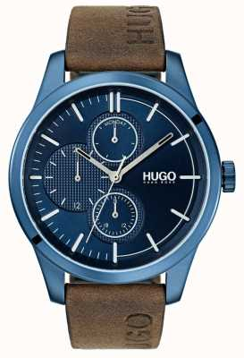 HUGO #discover |茶色の革ストラップ|ブルーダイヤル 1530083