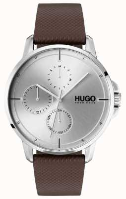 HUGO #focus |茶色の革ストラップ|シルバーダイヤル 1530023