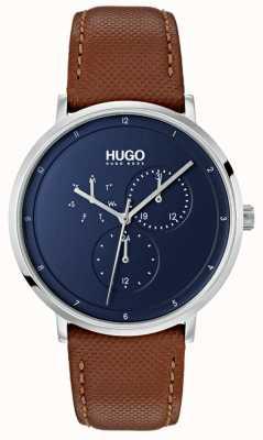 HUGO #guide |茶色の革ストラップ|ブルーダイヤル 1530032
