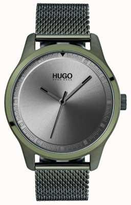HUGO #move |グリーンIPメッシュブレスレット|ベクターイラスト| CLIPARTOグレーダイヤル 1530046