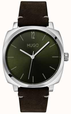 HUGO #own |ブラックレザーストラップ|グリーンダイヤル 1530068