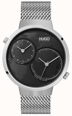 HUGO #travel |ステンレススチールメッシュ|ブラックダイヤル 1530055