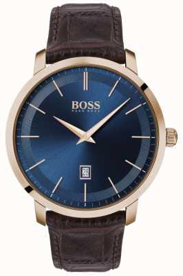 Boss |メンズプレミアムクラシック|茶色の革ストラップ|ブルーダイヤル| 1513745