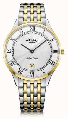 Rotary |メンズウルトラスリム|ツートーンステンレス鋼|ホワイトダイヤル| GB08301/01