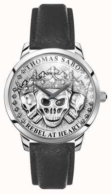 Thomas Sabo |男性の反逆者の精神3 dの頭蓋骨|黒革ストラップ| WA0355-203-201-42
