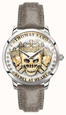 Thomas Sabo |男性の反逆者の精神3 dの頭蓋骨|ゴールドダイヤル|レザーストラップ| WA0356-273-207-42