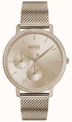 BOSS |女性の無限大|ローズゴールドメッシュ|ローズゴールドサンレイダイアル 1502519