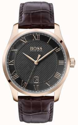 Boss |メンズマスター|茶色の革ストラップ|グレーダイヤル| 1513740