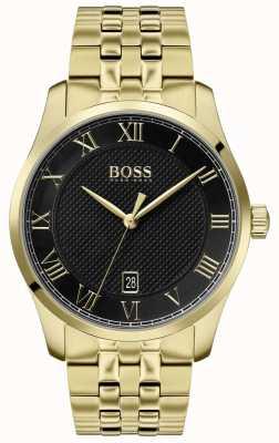Boss |メンズマスター|ゴールドpvdブレスレット|ブラックダイヤル| 1513739