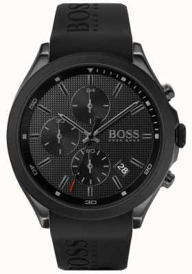 Boss |男性の速度|ブラックラバーストラップ|ブラックダイヤル| 1513720