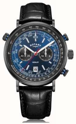 Rotary |メンズヘンリークロノグラフ|ブルーダイヤル|ブラックレザーストラップ GS05238/05
