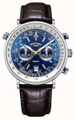 Rotary |メンズヘンリークロノグラフ|ブルーダイヤル|茶色の革ストラップ GS05235/05