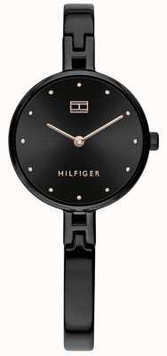 Tommy Hilfiger |女性用キット|ブラックステンレスブレスレット|ブラックダイヤル 1782136