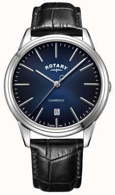Rotary |メンズケンブリッジ|ブルーダイヤル|黒革ストラップ| GS05390/05