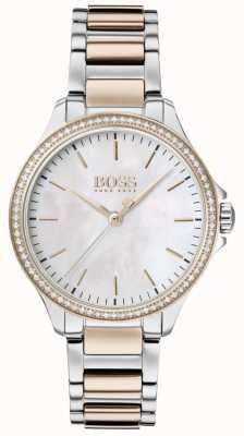 BOSS |彼女のためのダイヤモンド|ツートンカラーブレスレット|マザーオブパール 1502524