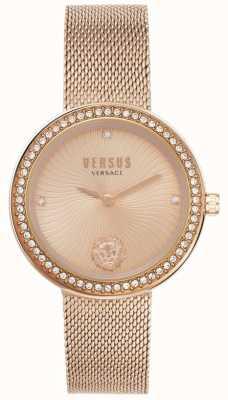 Versus Versace |女性のレア|ローズゴールドメッシュブレスレット|ローズゴールドダイヤル| VSPEN0919