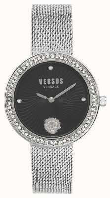 Versus Versace |女性のレア|シルバーメッシュブレスレット|ブラックダイヤル| VSPEN0719