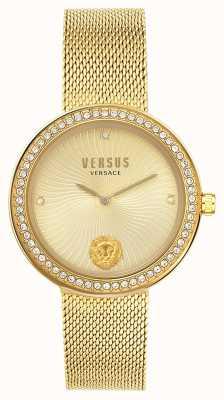 Versus Versace |女性のレア|ゴールドメッシュブレスレット|ゴールドダイヤル| VSPEN0819