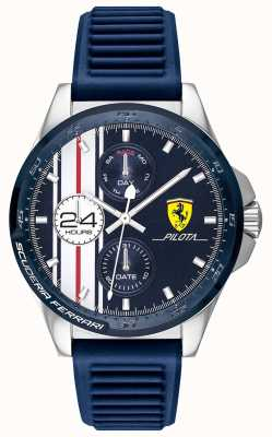 Scuderia Ferrari |メンズピロタ|ブルーラバーストラップ|ブルークロノグラフダイヤル| 0830660
