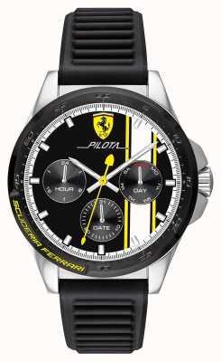 Scuderia Ferrari |メンズピロタ|ブラックラバーストラップ|ブラッククロノグラフダイヤル 0830659
