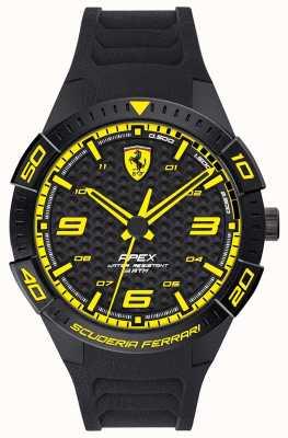 Scuderia Ferrari |男性の頂点|ブラックラバーストラップ|ブラック/イエローダイヤル| 0830663