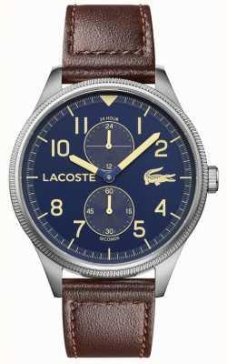 Lacoste |メンズコンチネンタル|茶色の革ストラップ|ブルーダイヤル| 2011040