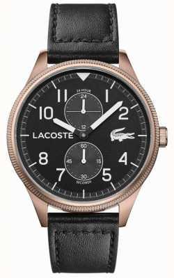 Lacoste |メンズコンチネンタル|黒革ストラップ|ブラックダイヤル| 2011042