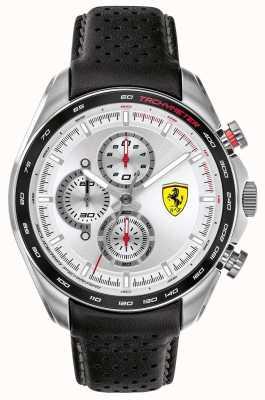 Scuderia Ferrari |メンズスピードレーサー|黒革ストラップ|シルバーダイヤル| 0830651