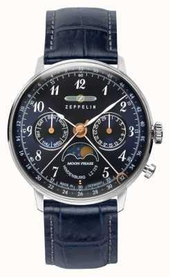 Zeppelin Lz129ヒンデンブルククォーツ| 36mmムーンフェイズ|青い文字盤 7037-3