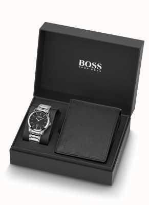 Boss |メンズ|時計と黒革の財布セット| 1570093
