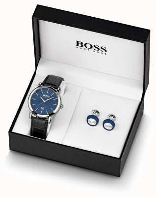 Boss |メンズ|青い時計とカフスボタンセット| 1570092
