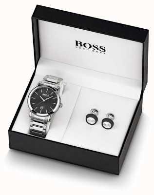 Boss |メンズ|黒い時計とカフスボタンセット| 1570091