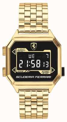 Scuderia Ferrari |メンズデジドライブ|金メッキブレスレット|ブラックダイヤル| 0830705