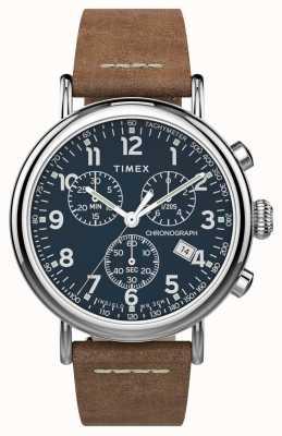 Timex |標準クロノ41mm |茶色の革ストラップ|ブルーダイヤル| TW2T68900