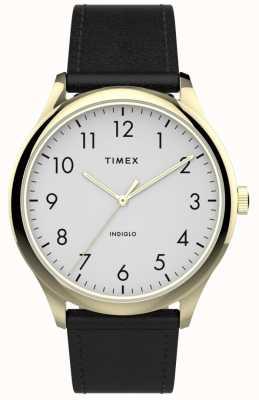 Timex |イージーリーダー40mm |黒革ストラップ|ホワイトダイヤル| TW2T71700