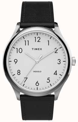 Timex |イージーリーダー40mm |黒革ストラップ|ホワイトダイヤル| TW2T71800